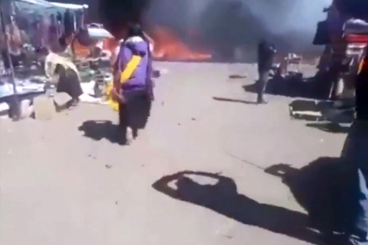 Chiapas, mercado, incendio, San Juan Chamula, pirotécnia,