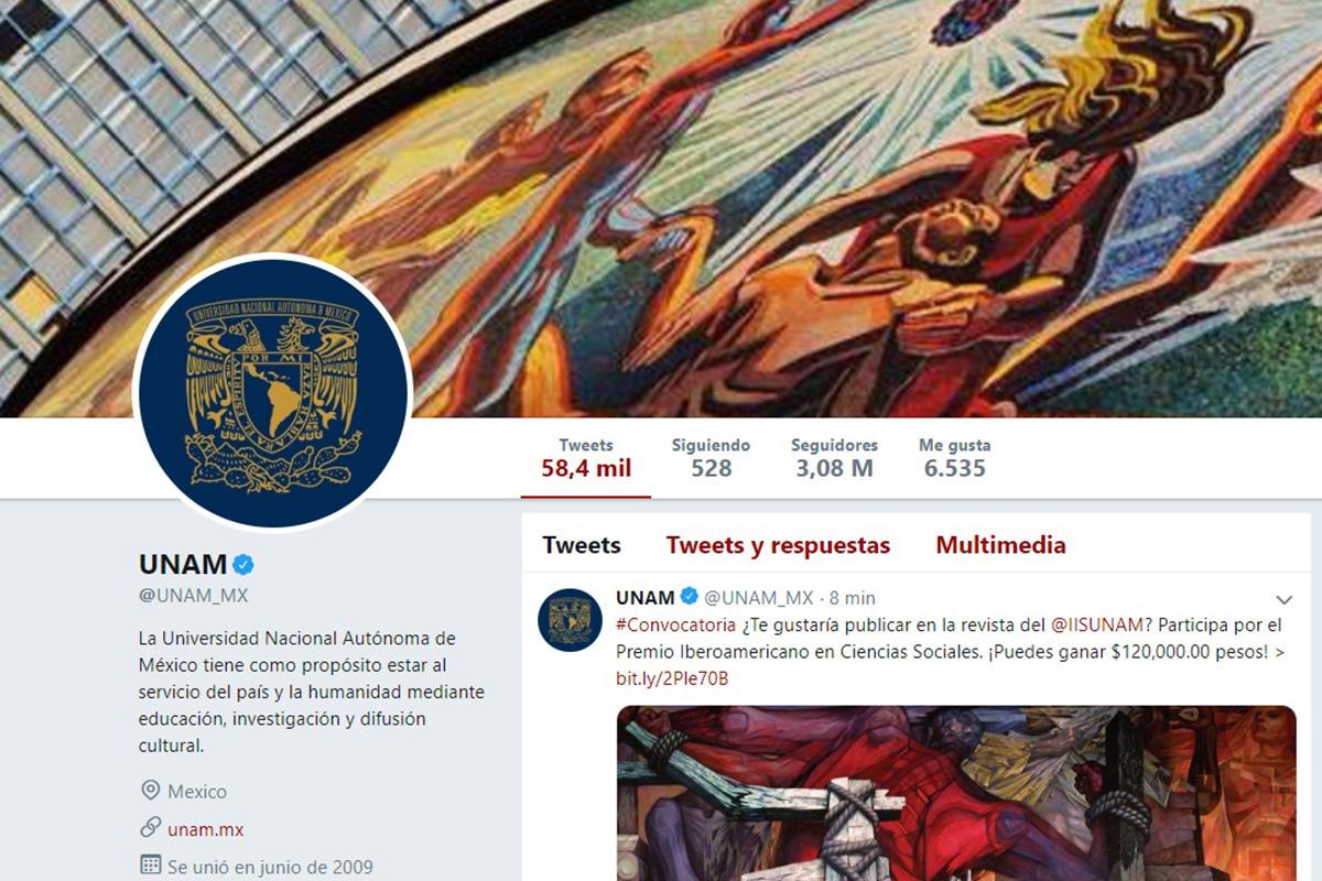 UNAM, Twitter, uniRank, followers,