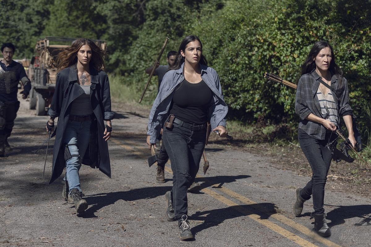 Alanna Masterson as Tara Chambler; group- The Walking Dead _ Season 9, Episode 13 - Photo Credit: Gene Page/AMC