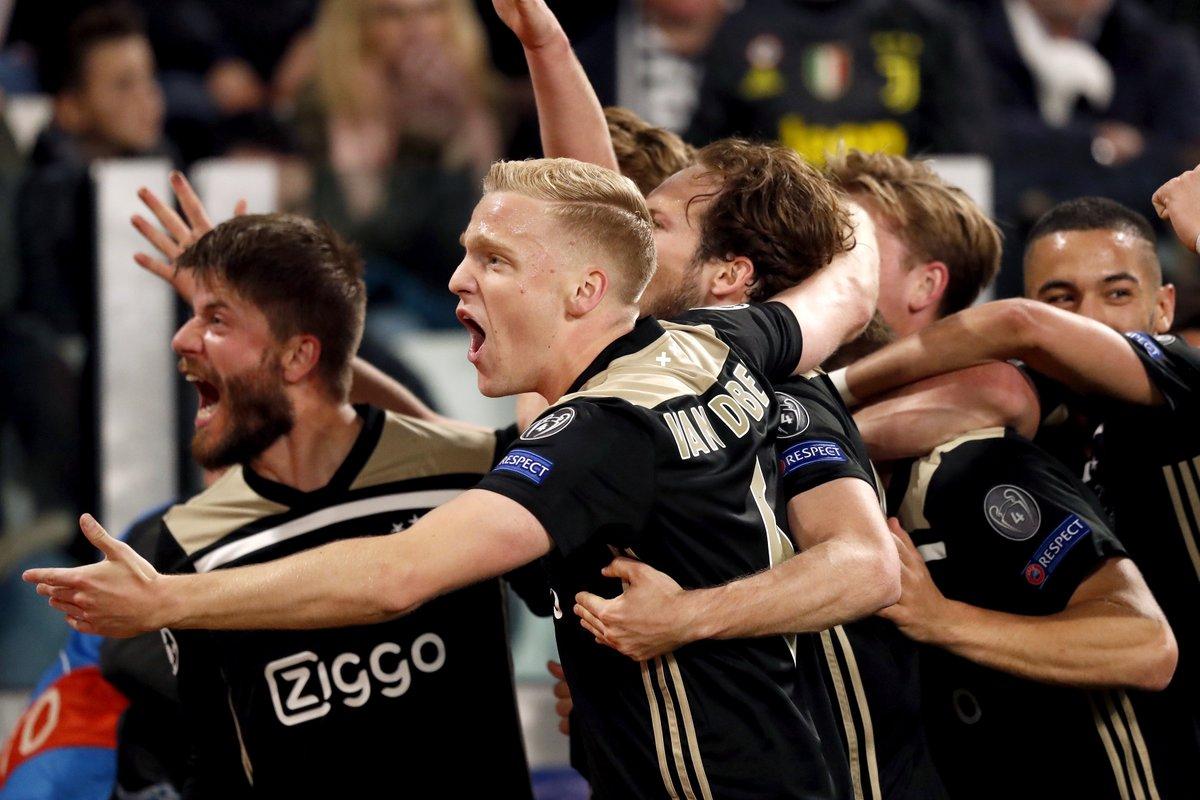 Ajax le pegó a la Juventus. Foto: Twitter Ajax