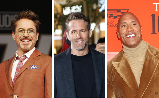 Robert Downey Jr., Ryan Reynolds y Dwayne Johnson