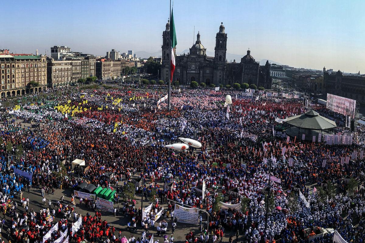 Trabajadores, Día del Trabajo, Zócalo capitalino, marcha, CTM, Maestros,