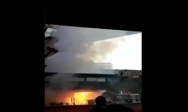 Aspecto del incendio en el Auditorio Nacional