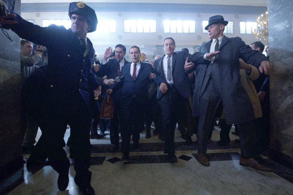 THE IRISHMAN (2019) Ray Ramano (Bill Bufalino ) Al Pacino (Jimmy Hoffa) and Robert De Niro (Frank Sheeran)