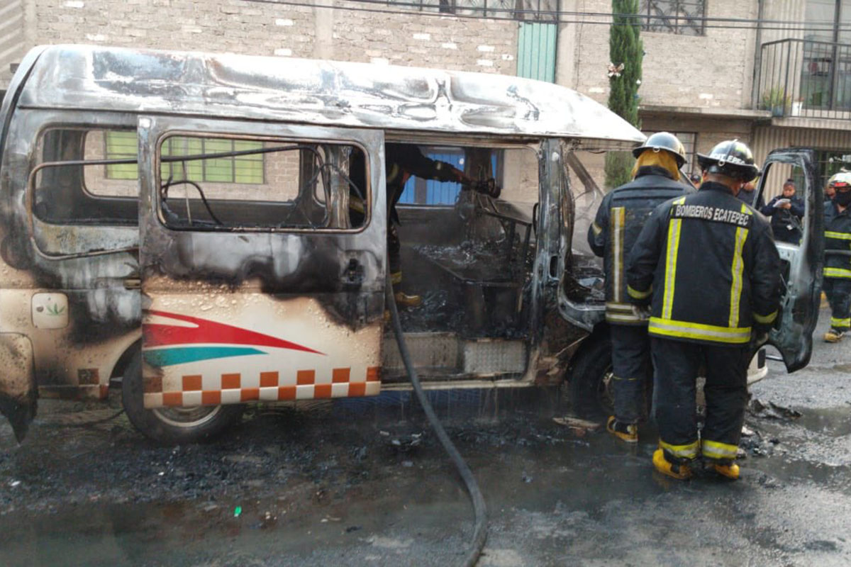 Ecatepec, Combi, transporte, Edomex, incendio,