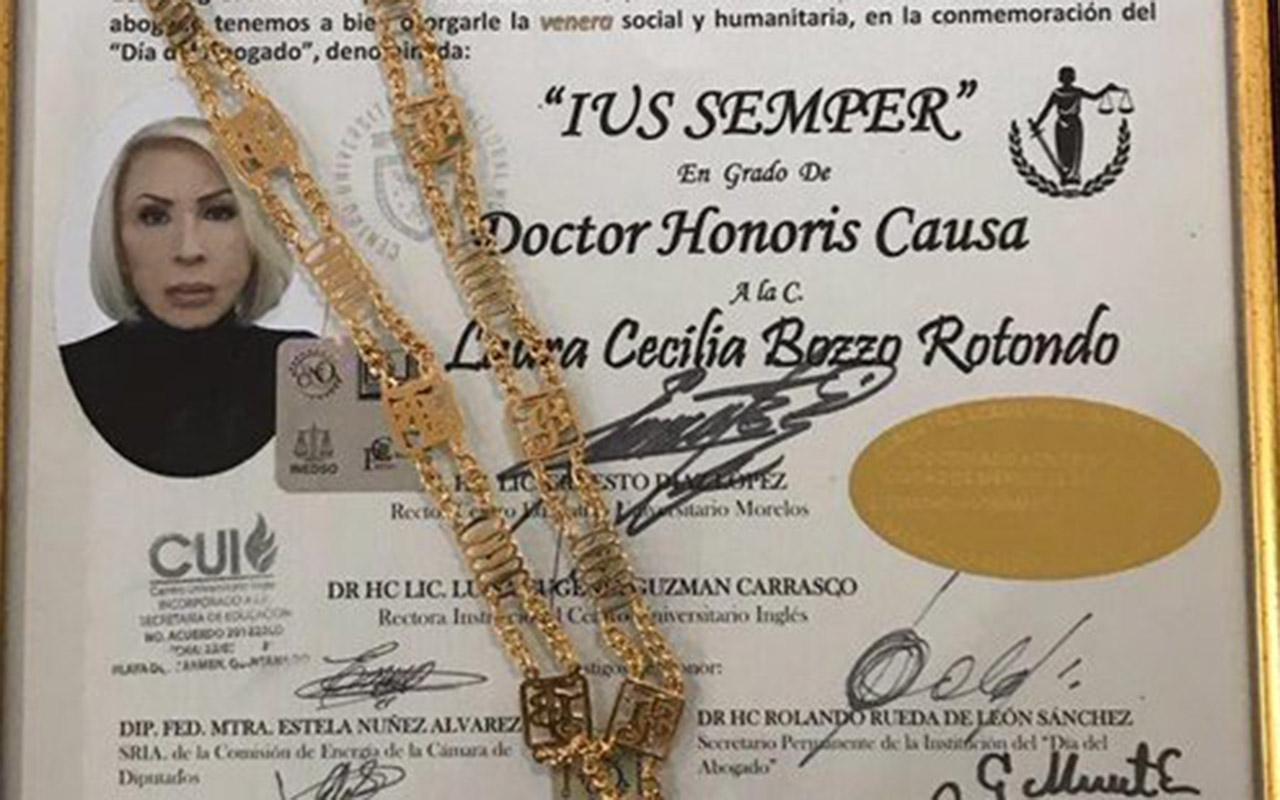 Honoris Causa, Laura Bozzo, Consejo Doctoral Mexicano, Fiscalía General de la República, universidades,