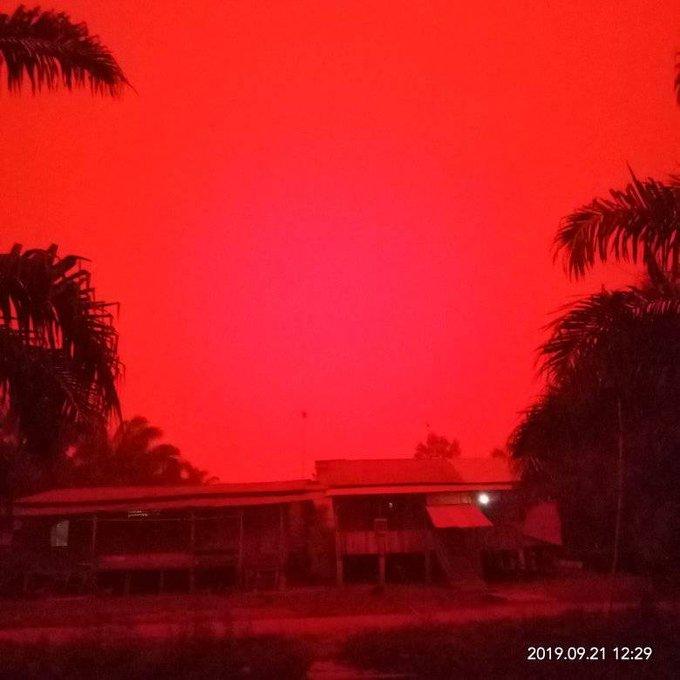 cielo rojo, incendios, indonesia