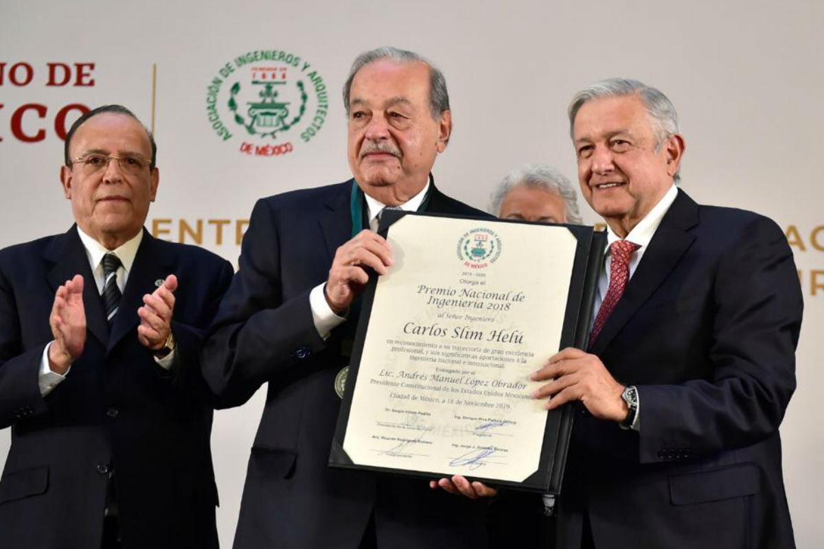 Carlos Slim, Grupo Carso, Premio Ingenieria, Palacio Nacional, AMLO, presidencia,