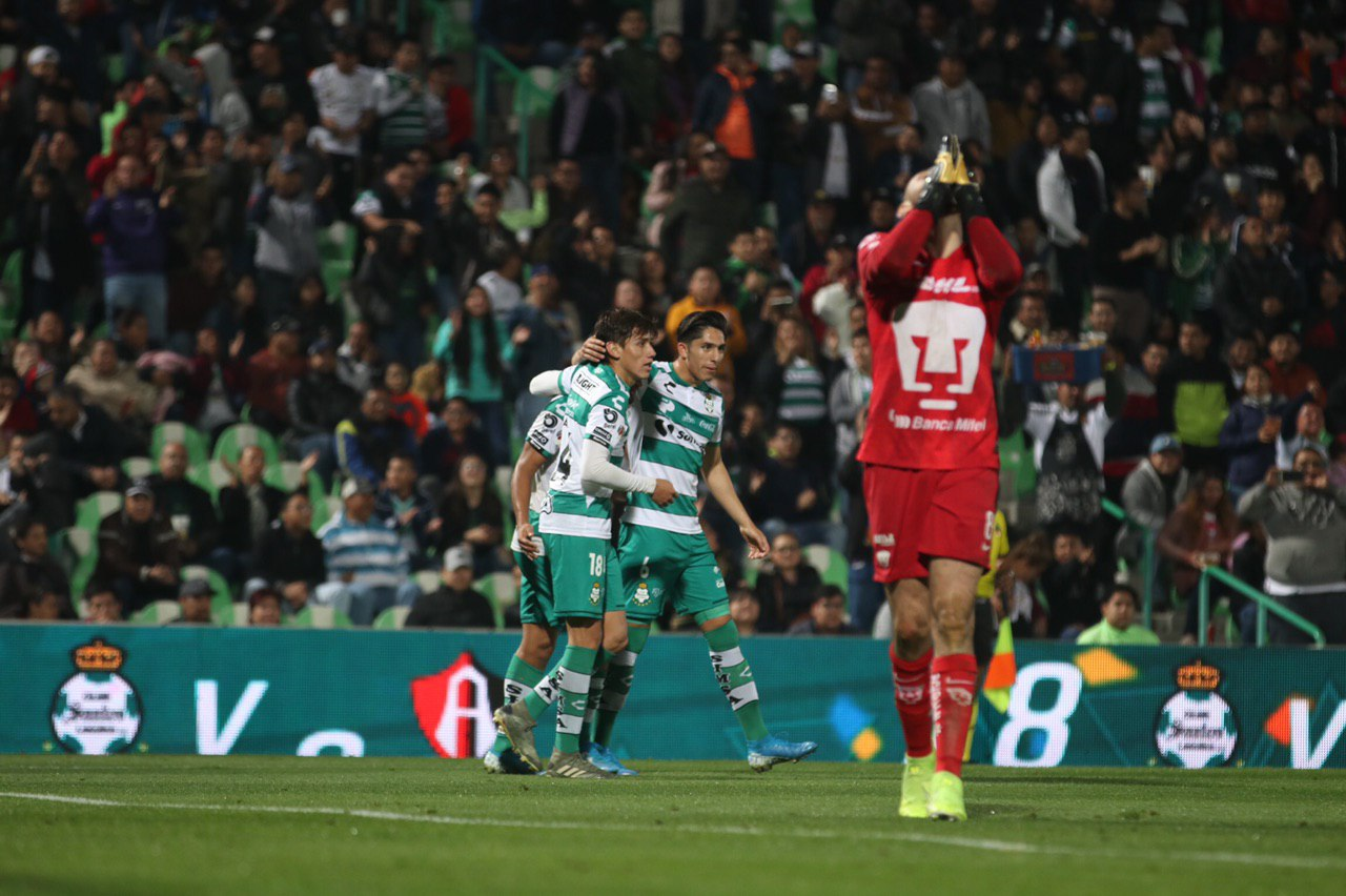Santos deja al borde de la eliminación a Pumas. Foto: Twitter Santos