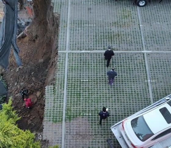 Se abrió un socavón en Cuajimalpa. Foto: Israel Lorenzana
