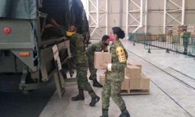 Ejercito transporta más de mil toneladas de equipo e insumos médicos