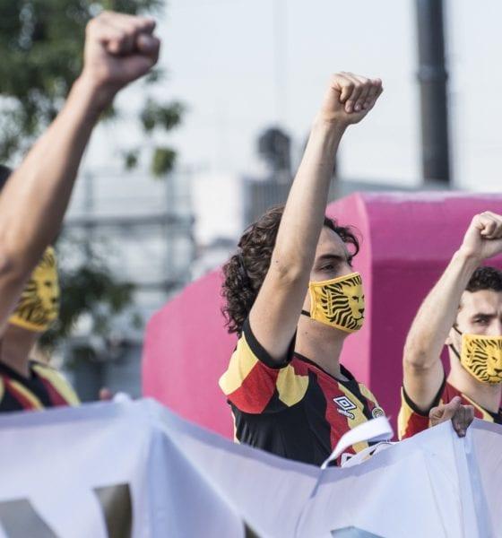 Se manifiestan jugadores de Leones Negros. Foto: Jorge Dávalos