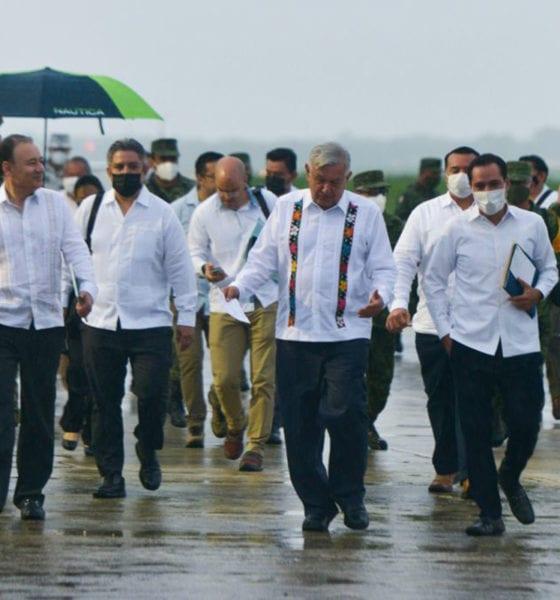 A López Obrador le llovió en Yucatán, pero no cancela gira