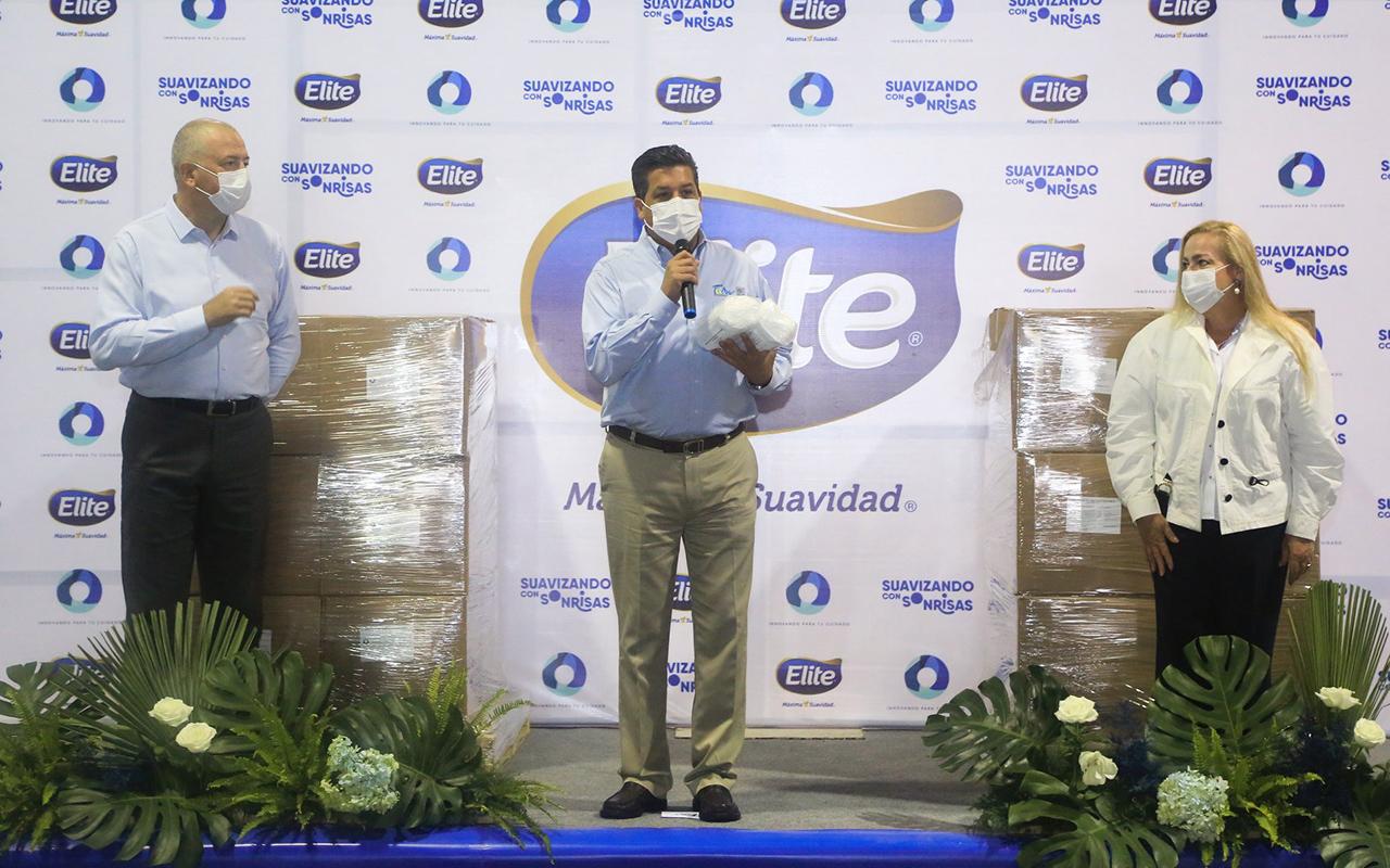Elite realiza donación de 500 mil cubrebocas al gobierno de Tamaulipas