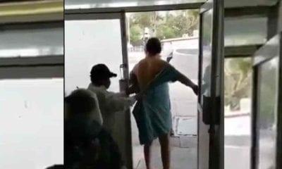 Paciente del ISSSTE intenta huir del hospital. Foto: Twitter