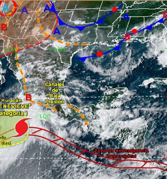 Instalan zona de vigilancia por huracán Genevieve en México