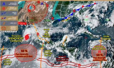 Genevieve se degradó a huracán categoría 1; BCS está en alerta