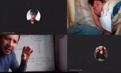 Captan a alumno en su cama tomando clases. Foto: Twitter