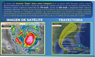 Delta se debilita a categoría 2 y toca tierra en Puerto Morelos