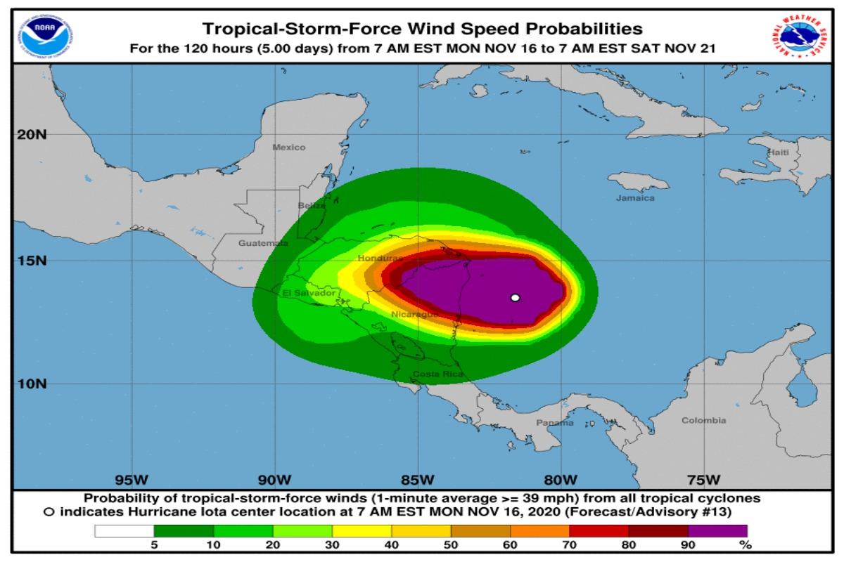 Iota se convierte en un huracán categoría 5