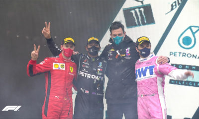 Checo Pérez subió al podium. Foto: Twitter F1