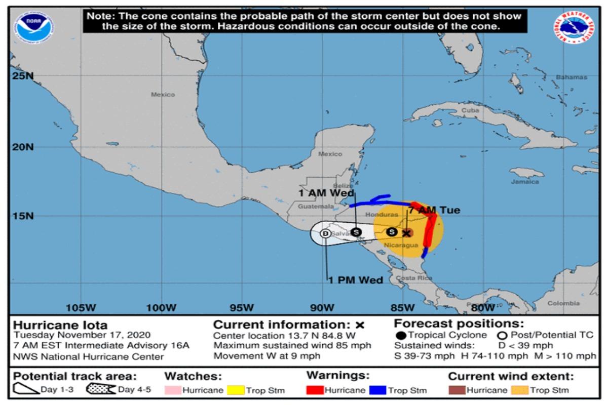 Iota se degradó a tormenta tropical
