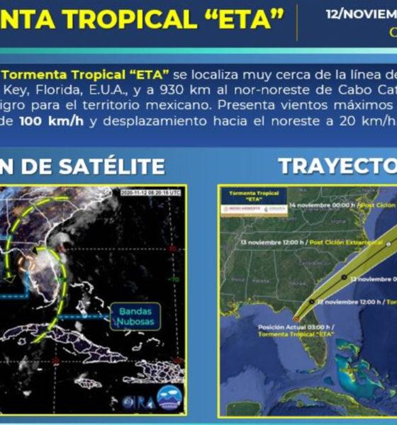Tormenta tropical Eta entró a tierra en Cedar Key, Florida