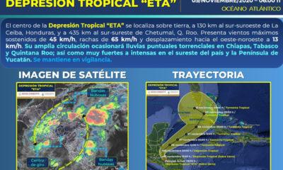 Eta provocará lluvias torrenciales en Chiapas, Quintana Roo y Tabasco