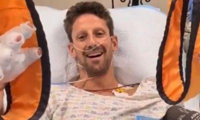 Grosjean muestra sus heridas. Foto: Twitter