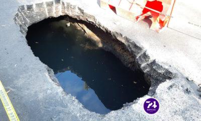 Socavón afecta a vecinos de alcaldía Cuauhtémoc en CDMX