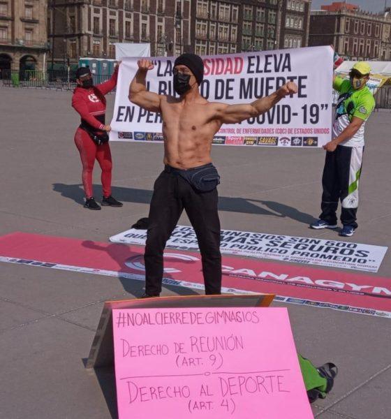 Con protesta en el zócalo, piden reapertura de gimnasios en CDMX