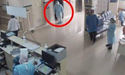 Policía ingresa al hospital disfrazado de médico. Foto: Twitter