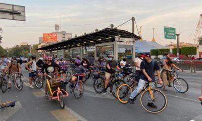 Ciclistas protestan en la Glorieta de Insurgentes