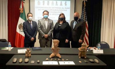 Estados Unidos regresa 280 piezas arqueológicas a México
