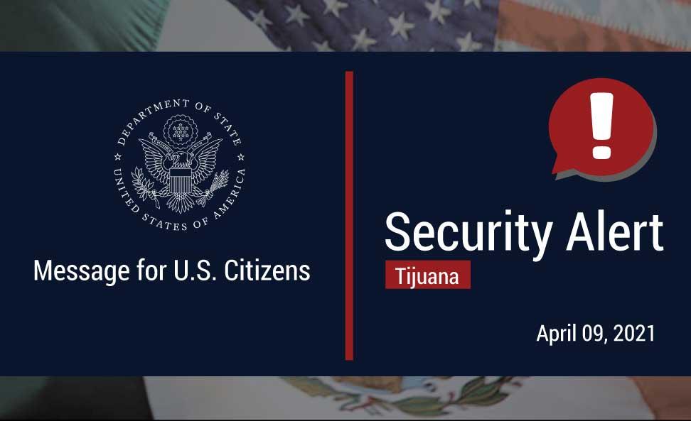Alerta de Seguridad para viajar a Mexicali. Foto: Twitter