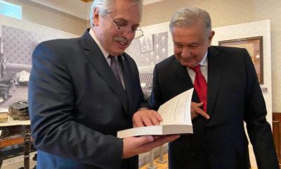 López Obrador con Alberto Fernández. Foto: Twitter López Obrador