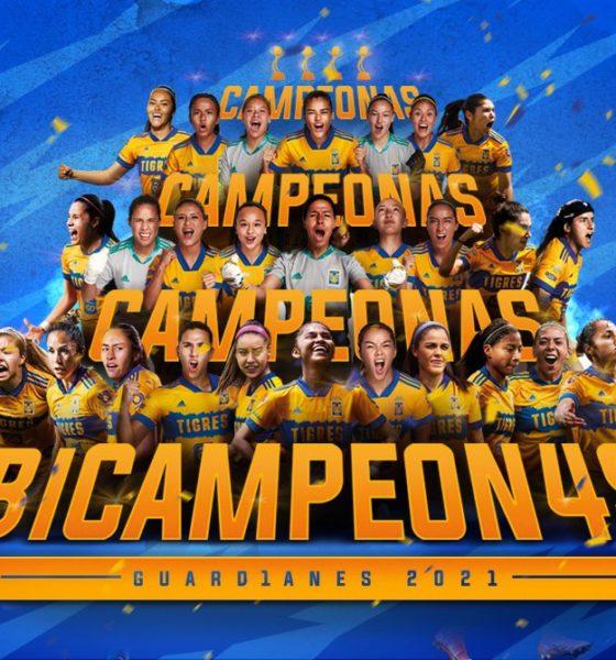 Tigres, bicampeón de la Liga MX femenil. Foto: Twitter