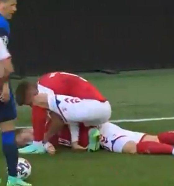 Christian Eriksen, Jugador de Dinamarca, se desvanece. Foto: Especial