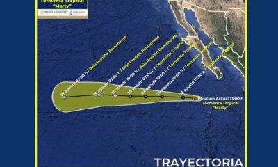 Tormenta tropical Marty se aleja de costas mexicanas