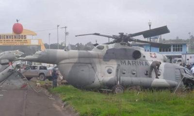 Se desploma helicóptero de Marina en Hidalgo; sólo lesionados