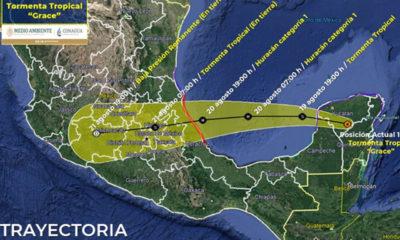 Grace se desplaza sobre Yucatán, ahora como tormenta tropical