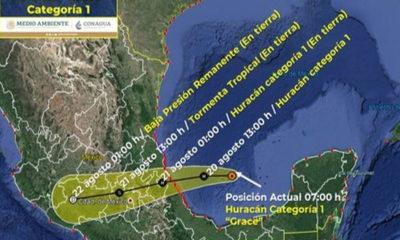 """Se intensifica """"Grace"""" a categoría 1 en Veracruz; se esperan fuertes lluvias"""