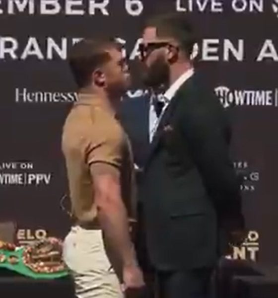 Canelo contra Plant. Foto Twitter