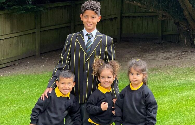 Hijos de Cristiano Ronaldo a la escuela. Foto: Twitter