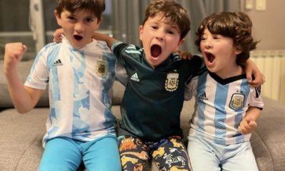 Hijos de Messi contentos. Foto: Twitter