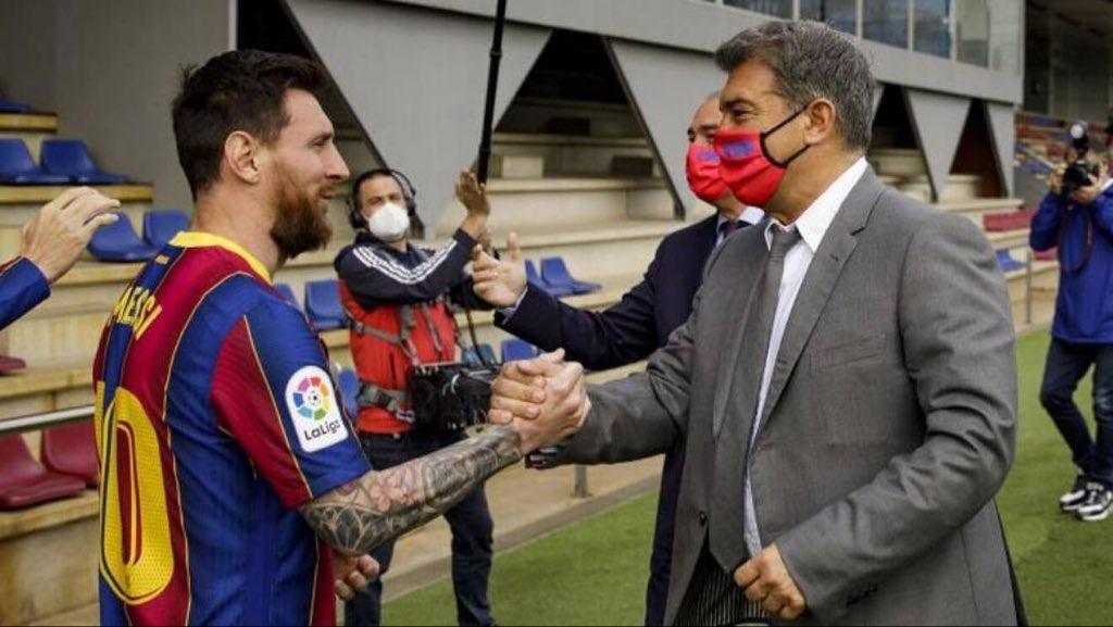 Laporta ya olvidó a Messi. Foto: Twitter