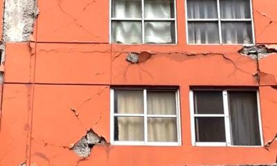 Reportan daños leves en edificio del Centro Histórico por sismo