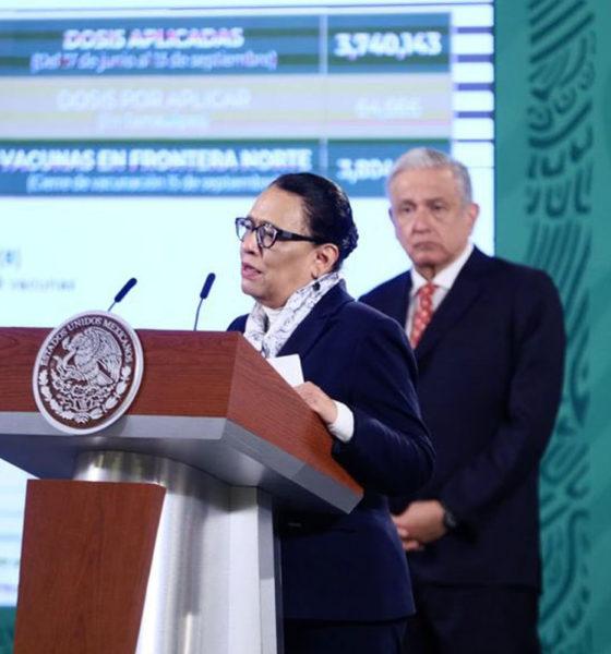 Rosa Icela Rodríguez, secretaria de Seguridad y Protección Ciudadana anunció que se aplicaron 3.8 millones de vacunas en 45 municipios.