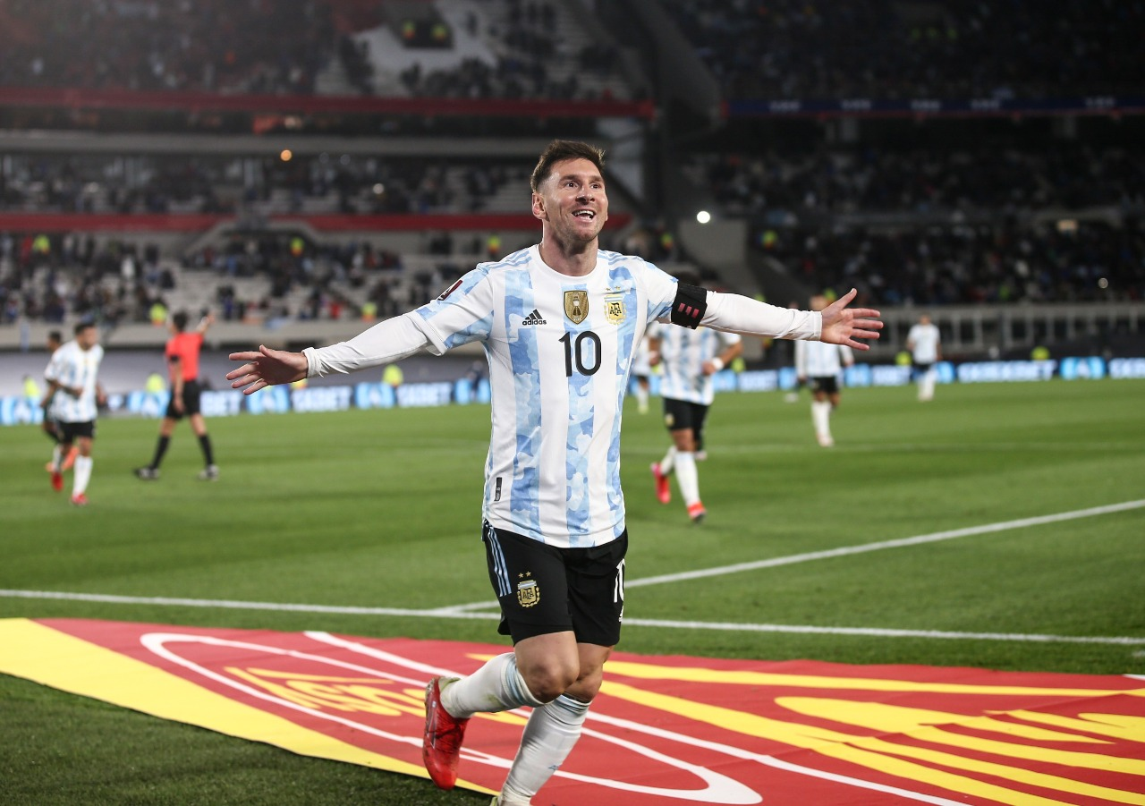 Triplete de Lionel Messi en las eliminatorias de Conmebol. Foto: Twitter