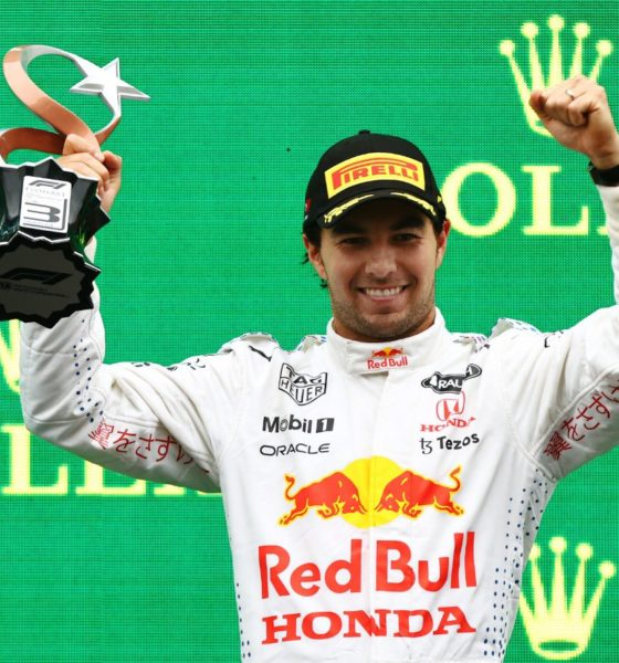 Sergio Checo Pérez subió al podio. Foto: Twitter